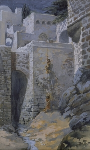 In The Flight of the Spies, James Tissot depicts the successful mission of two spies sent to Jericho by Joshua of Ephraim on the eve of Israel's conquest of the Promised Land.  One of those spies, Salmon of Judah, married Rahab, the Canaanite woman who believed the reports about YHVH's powerful provision for His people and who chose to help the spies escape and unite with their people.