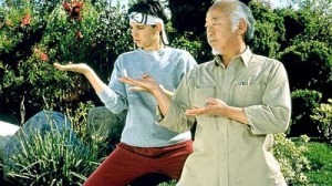Mr. Miyagi (Pat Morita) instructs Daniel (Ralph Macchio) in the art of karate in the 1984 movie, The Karate Kid.  (Photo from a review by Roger Ebert, January 1, 1984)