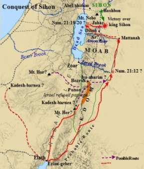 A map of the conquest of Sihon, whose land was settled by the tribes of Gad and Reuben. The tribe of Manasseh settled in the land of Bashaan, north of Sihon.  (Source:  Israel-a-History-of.com/Tribe-of-Manasseh)