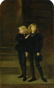 The Princes in the Tower. John Everett Millais, depicts the young King Edward V of England and his brother, Richard, Duke of York, two royal sons allegedly murdered by order of their uncle, King Richard III, who sought to deprive them of their rightful inheritance and claim the throne of England for himself.