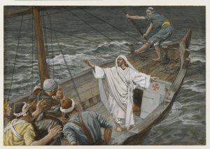 The answer to the question posed in Proverbs 30:4 is depicted in Jesus Stilling the Tempest, by James Tissot.
