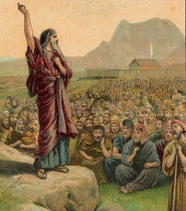 """Moses Pleading with Israel"" Providence Lithograph Company."