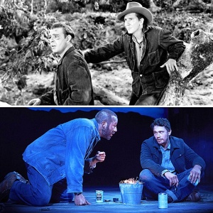 "Since the first stage production of Of Mice and Men in 1937, the play has gripped audiences and readers for its deep and disturbing probe into human nature. It has also spawned innumerable parodies and references in popular culture that have diluted the power of the piece. (Photos: Lon Chaney Jr & Burgess Meredith in the film 'Of Mice and Men' in 1939, Chris O'Dowd & James Franco in 'Of Mice and Men' in 2014 on Broadway, from ""Dogs, Bromance & James Franco: 12 Things Your English Teacher Didn't Tell You About Of Mice and Men"", by By Pete Croatto, April 12, 2014, Broadway.com)"