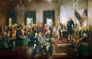 The Founding Fathers of the United States of America sought to establish a system whereby authority could be exercised in constructive rather than oppressive ways, an ideal many of them understood from their knowledge of the Bible. (Howard Chandler Christy, Scene at the Signing of the Constitution of the United States)