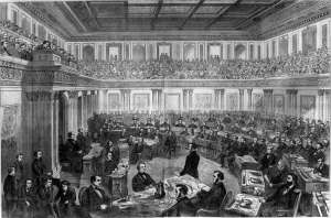 The Senate as a Court of Impeachment for the Trial of Andrew Johnson, by Theodore R. Davis. Illustration in Harper's Weekly, April 11, 1868.