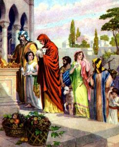 The story of a thanksgiving day, as in the offering of first fruits in Deuteronomy 26:1-11, illustration from a Bible card published by the Providence Lithograph Company between 1896 and 1913 (via Wikimedia Commons).