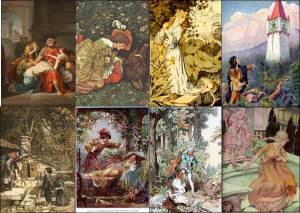 Famous literary figures with identity issues. Top row: Oedipus Rex (Bénigne Gagneraux, The Blind Oedipus Commending his Children to the Gods), Beauty's Beast (illustration by Walter Crane), The Frog Prince (illustration by Paul Meyerheim), Rapunzel's prince (illustration by Johnny Gruelle). Bottom row: Hansel and Gretel (illustration by Arthur Rackham), Sleeping Beauty (illustration from Childhood's Favorites and Fairy Stories), Snow White (illustration by Alexander Zick), Cinderella (illustration by Anne Anderson).