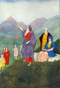 "Moses speaks to the children of Israel, as in Deuteronomy 31:1. Illustration from ""The Boys of the Bible"" by Hartwell James, published by Henry Altemus Company, 1905 and 1916."