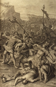 The Battle Between the Israelites and Amalekites; as in Exodus 17:8-13. From Figures de la Bible, Gerard Hoet (1648–1733) and others, published by P. de Hondt in The Hague in 1728, via Wikimedia Commons
