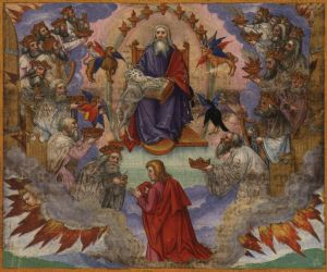 John's Vision of Heaven, Revelation 4:1-5:14. Illustration by Matthias Gerung. Ottheinrich-Bibel, 1530-32.
