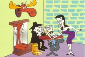 Rocky, Bullwinkle, Boris, and Natasha. © Jay Ward Productions. Illustration accessed on Dishonest John's T.V. Toons.)