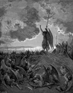 "Iniquity is the quality which compels Satan to say, ""Better to reign in Hell, than serve in Heav'n"" (Ezekiel 28:15).  (""They heard, and were abasht, and up they sprung"", Paradise Lost, illustration by Gustave Doré, c.1884)"