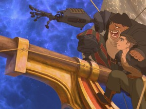 Jim Hawkins (voice by Joseph Gordon-Levitt) learns about the stars from John Silver (Brian Murray) in Treasure Planet, the 2002 Disney adaptation of Treasure Island. (Photo: Rotton Tomatoes)