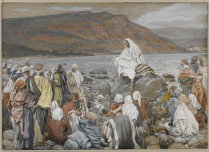 Jesus Teaches the People by the Sea, by James Tissot.  If the Lord God really is working through the entire nation of Israel to bring redemption to every nation on earth, then the Gospel of the Kingdom is more than just personal salvation in Messiah.  It is nothing less than the restoration and reunification of Judah and Ephraim under the reign of Messiah Son of David.