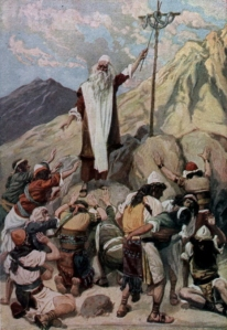 In The Brazen Serpent, James Tissot illustrates one of the many ways the Lord God cared for our fathers even as they lived out their sentence of death in the wilderness.