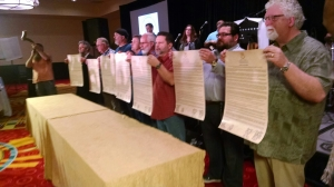 B'ney Yosef North America Council of Elders with signed copies of the Articles of Declaration, March 6, 2016. (Photo courtesy of natsab.com)