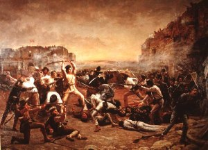 The Fall of the Alamo, or Crockett's Last Stand, by Robert Jenkins Onderdonk. Although flawed, this iconoclastic rendition of the Battle of the Alamo depicts the heroic image of the Alamo's defenders as it has come down through history.