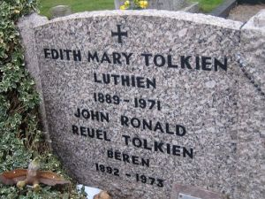 The headstone at the Tolkiens' grave in Oxford, England.