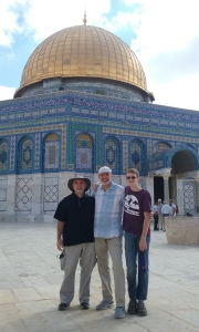 Three witnesses on the Temple Mount. Left to right: Al McCarn, Pete Rambo, Joseph Rambo.