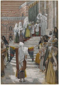 Faithful, righteous, and elderly Simeon and Anna see the eternal Kingdom's progress in the life of the infant Yeshua. (James Tissot, The Presentation Jesus in the Temple.)