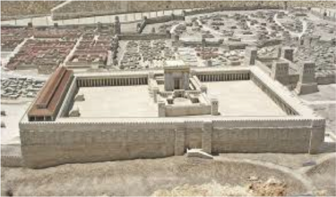Temple destroyed 70 A.D. (Holy Land Hotel Model, Jerusalem)