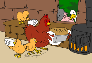 The Little Red Hen and her chicks enjoy the fruit of her labors. (©2014-2016 Ross-Sanger)