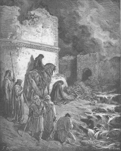Our expectation of dramatic Divine intervention often prevents us from recognizing the miracles God works through human beings in less spectacular ways, such as when He inspired Nehemiah to direct the rebuilding of Jerusalem's wall. (Gustave Doré, Nehemiah Views the Ruins of Jerusalem's Walls.)