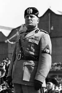 Benito Mussolini, Duce (Leader) of Italy, 1922-1943, founder of the Fascist state which sought to be everything - even god - to its citizens.