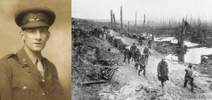 Like many veterans of World War I, the horrors of combat on the Western Front shook Siegfried Sassoon's faith in Western Civilization and its Christian foundation.  (Left:  1915 photo of Siegfried Sassoon by George Charles Beresford.  Right:  British troops of the 17th (County of London) Battalion, London Regiment (Poplar and Stepney Rifles), 47th (2nd London) Division, crossing a muddy area in the Ancre Valley, October 1916, Imperial War Museum.)