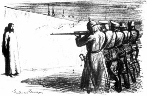 The Deserter, a 1916 political cartoon by Boardman Robinson, depicts the ultimate outcome of a nationalist worldview in which Christian nations engaged one another in a struggle for dominance.