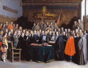 "The concept of the ""nation-state"" was a product of the Peace of Westphalia, which ended the Thirty Years War in 1648. The nation-state, however, is not the ultimate expression of God's Kingdom order. (The Ratification of the Treaty of Münster, Gerard Terborch.)"